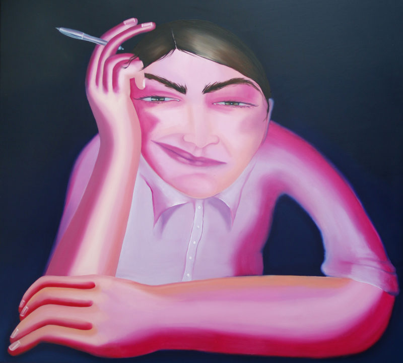 Self portrait as an office worker / 100x100/oil on canvas/2019