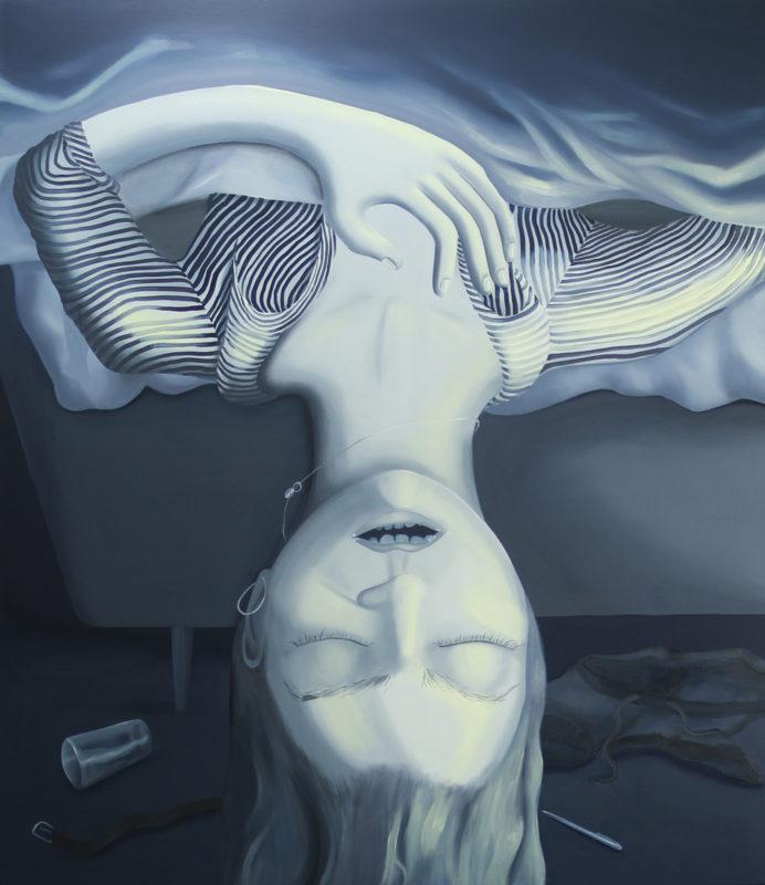 self-portrait sleeping / 160x135/oil on canvsa/2020