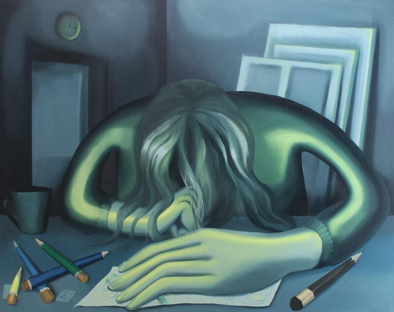 Sleeping on a table / 150x170/oil on canvas/2020